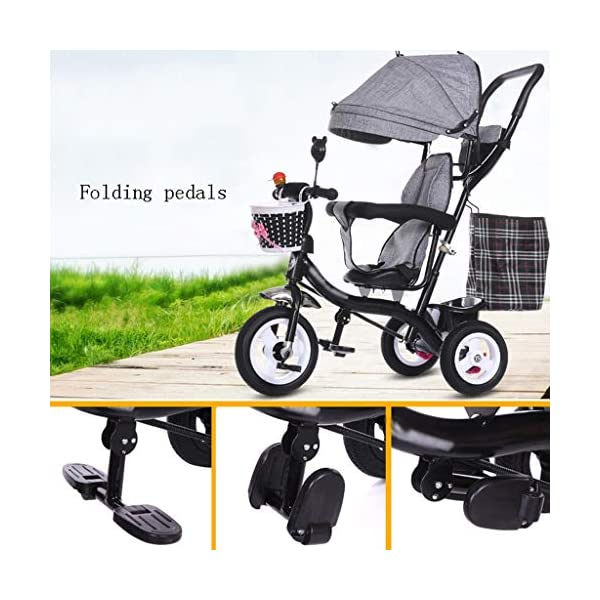 Pushchairs Multifunctional Child Tricycle Trolley 1-3 - 5 Years Old Bike Baby Bicycle Baby Car Prams (Color : E)  Features assembled canopies without worrying about rain and sunshine,Safety features and safety belts are provided for safety. The pedal can be folded for more convenient use: the pedal can be folded to make travel more convenient. Upgrade the thickened sponge pillow to protect the baby's head and make the baby ride safer. 6