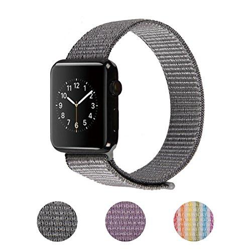 Wengerui Apple Watch Armband 42mm,Gewobenes Nylon Sport Schlaufe Handgelenk Uhrband Ersatz Armreif Uhrenarmband für iWatch Apple Watch Series 3,Series 2,Series 1(42mm,Grau)