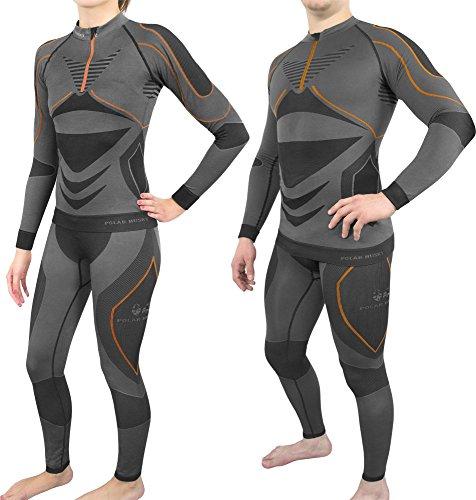 Polar Husky® Atmungsaktive Thermounterwäsche/Funtionsunterwäsche für Damen und Herren Farbe Schwarz/Orange Größe L/XL