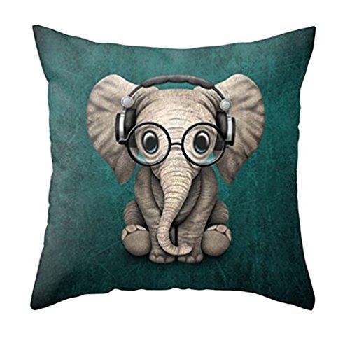 MFGNEH Home Decor Baumwollleinen Kissenbezug 45,7 x 45,7 cm, niedlicher Elefant mit Brille, Überwurf, Kissenbezug für Sofa, Elefant Dekor 18x18 1 20x20