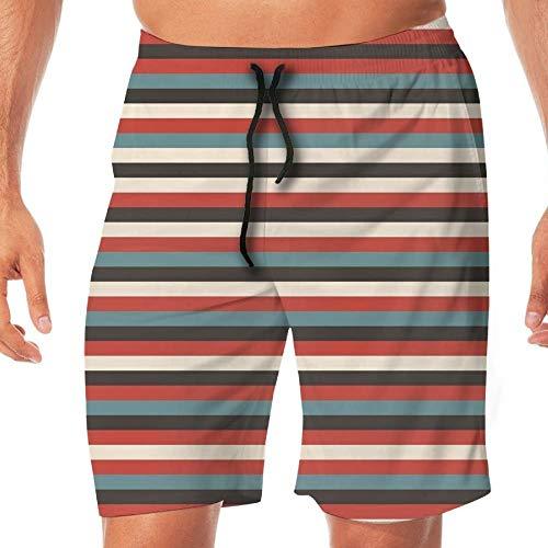 HPHPLSZ Men's Lightweight Swimming Trunks Striped Vintage Retro Pattern Geometr,XXL -