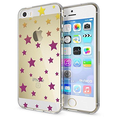 iPhone SE 5 5S Hülle Handyhülle von NICA, Slim Silikon Motiv Case Schutzhülle Dünn Durchsichtig, Etui Handy-Tasche Back-Cover Transparent Bumper für Apple iPhone 5 5S SE, Designs:Deer Stars