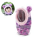 FUYAO Little Girls passamontagna Toddler Kids Winter Warm crochet cappello scaldacollo in pile per outdoor sci snowboard giocare campeggio, Bambino, purple, 2-6 anni
