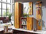 Garderobenpaneel Woodline mit Glasplatte Wildeiche massiv mit Baumkante