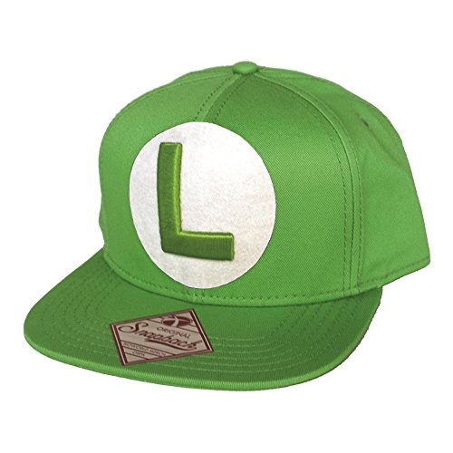 Nintendo Snap Back Cap with L in front, grün (Grüne Luigi Mütze)