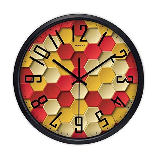 H&S Salon der Wall Clock Clock Quarzuhr Mute Kreative Moderne der Minimalistische Zimmer mit Queensize-Bett Wand Tabelle Farbe Schwarz (Grund: C) (Metall-tabellen Beschichtete)