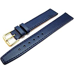 Blue Leather Watch Strap Band With A Stitched Edging And Nubuck Lining 16mm