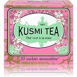 Kusmi Tea - Grüner Tee mit Rose - Chinesischer Tee aromatisiert mit Rosenblüten - 25 Musselinteebeutel