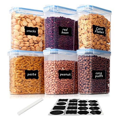 Vtopmart 2.5L Vorratsdosen Set,Müsli Schüttdose & Frischhaltedosen, BPA frei Kunststoff Vorratsdosen luftdicht, Satz mit 6+24 Etiketten für Getreide, Mehl, Zucker usw.