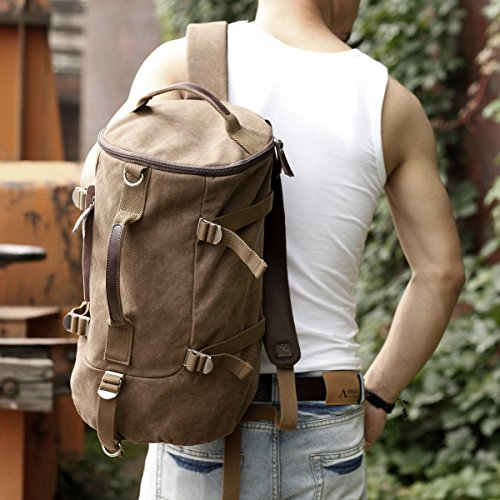 Eshow Herren Canvas Schulter Rucksack Umhaengetasche Backpack Sporttasche Reisetasche Braun