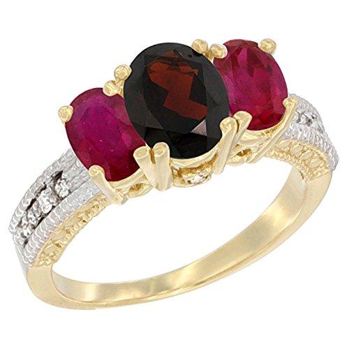 14ct Gelb Gold Diamant Granat Ring Oval Ehering mit optimierter Ruby, Größe L (Ruby Und Garnet Ring)