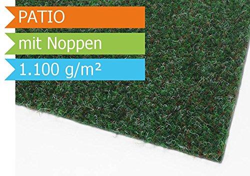Premium Rasenteppich Kunstrasen Patio mit Noppen - Farbe Grün | Vliesrasen mit Drainage | Gesamthöhe ca. 7,5mm | Gewicht 1100g/m² | Pflegeleichte Strapazierfähig | Kunstrasenteppich - 4,00m x 2,50m