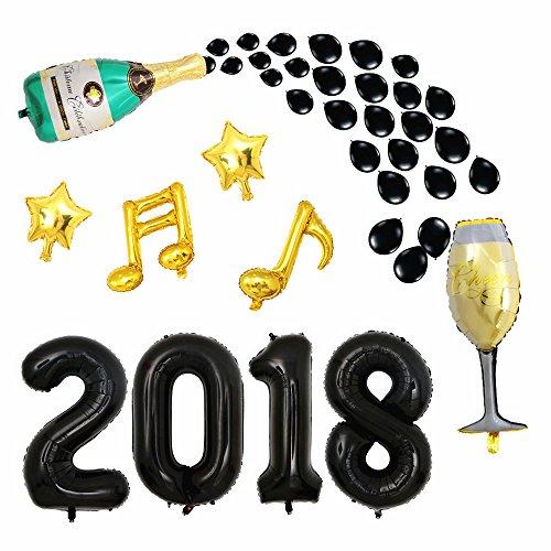 Luftballons für Abschlussfeier, 101,6 cm, Schwarz, mit Champagnerflasche, Sternenballons für Abschlussfeier, Jubiläum, Party-Dekorationen