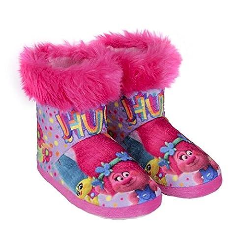Trolls Poppy - Fille Plush Bottes Slipper doux et confortable toesters (32)