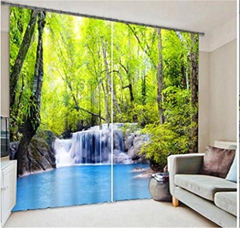 KKLL Polyester 3D Fließendes Wasser Grüner Wald Visueller Raum Drucken Stoffe Anti-UV-Geräusche Reduzieren von soliden thermischen Vorhängen Home Decor Schlafzimmer Fenster Vorhänge , wide 2.64x high 2.13