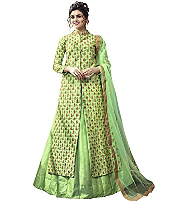 Indian Ethnic Satin Silk Green Abaya Suit Readymade