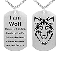 Fashion Wolf Pendant Necklace I am Wolf Fans Gift Dog Tag Jewelry Keychain