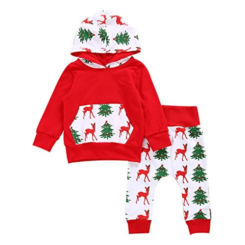 Bekleidung Longra Kleinkind Baby Junge Mädchen Rotwild Print Pullover Hoodie Sweatshirt Tops + Hosen Kapuze Weihnachts Kleidung Outfits Set (0 -24 Monate) (100CM 18Monate, (Hoodie Red Kostüme Weihnachten)