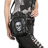 Sometubien Cuero de la PU de Las Mujeres Bolso de La Cintura Remaches Skull Crossbody Bolsa de Hombro de La Motocicleta Pierna Cinturón Bolsa Punk Rock H Black