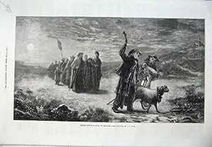 Arte Francese di Luce della luna di 1870 dei Pastori Pecore della Messa di Natale