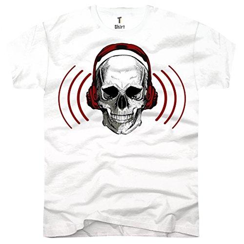 TEE-Shirt, Men T-Shirt Skull Musik Size XXL,Weiß (Kopfhörer Tee Mens)
