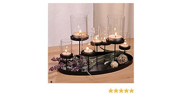 Kerzenhalter für sieben kerzen aus metall und glas schwarz cm