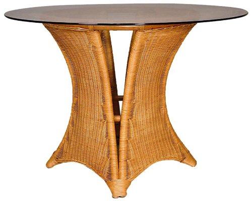 Hansen Rattan 3844/108F Peddigrohrtisch Honig gebeizt/mit aufliegender Glasplatte, ø 108cm / ø 108 H 70 cm -