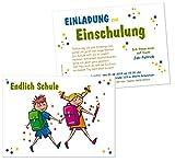 Unser-Festtag Einladungen zum Schulanfang - Einschulung bunt und witzig - mit Wunschtext - 20 Karten - DIN A5
