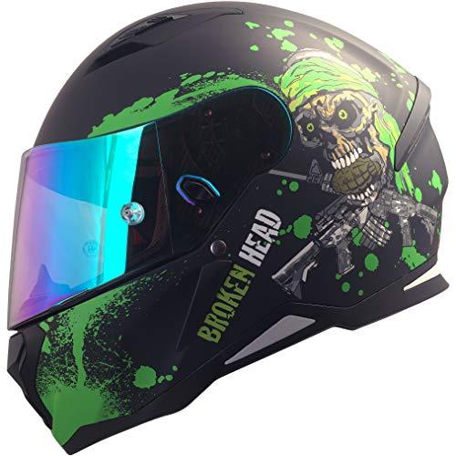 Broken Head Jack S. - Integral-Helm grün - Sport-Motorrad-Helm incl. Pinlock und gratis grün verspiegeltem Visier (L 58-59 cm)