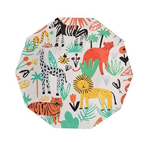 HANGNUO 24 Set Einweggeschirr, Teller, Einweg Papier Platten, Partygeschirr Für Abendessen, Dessert, Kinder Wildes Tier Dschungel-Thema Partyzubehör & Dekoration