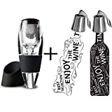 Teeyee Wine Aerator and 2 Pcs Wine Bottle Stoppers,[Stainless Steel&Silicone] Wine Bottle Plug+Wine