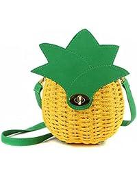 LAAT Frauen Sommer Strand Beutel handgemachte gesponnene Schulter Beutel nette Ananas Stroh Handtaschen beiläufige Frucht kleine Geldbeutel Tote 22 * 22cm