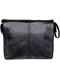 HYATT 16'' Inch Collage & Office Use Unisex Leather Bag (BLACK)