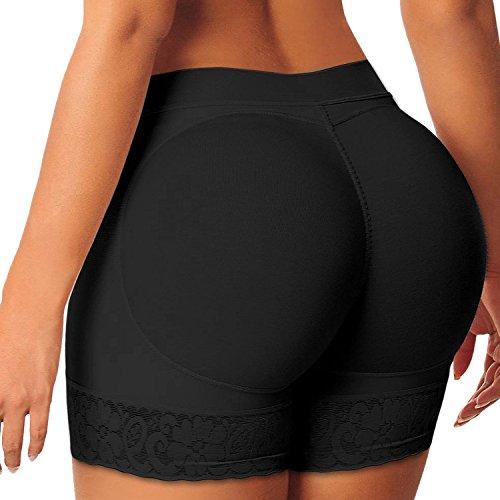 Eleery Frauen Nahtlose Hohe Taille mit Push-up Bodyshaper Padded Shapewear Unterwäsche (M, Schwarz) (Panty Push-up-damen)