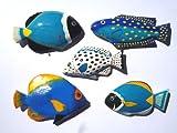Blaue Superfische 5er Set C - Deko Küchenmagnet. Für Badezimmer und Fliesen. Kleb dir einen