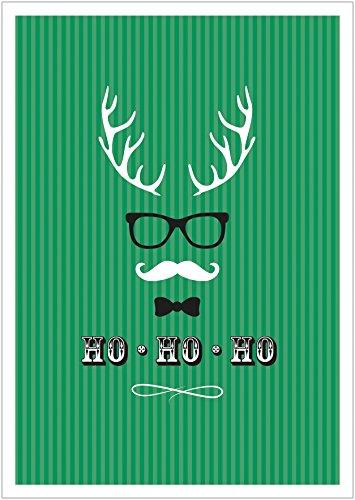 (Erhältlich im 1er 4er 8er Set: Ho, Ho, Ho Moderne Coole lustige Hipster Weihnachkarte Klappgrußkarte Gutschein mit Hirschgeweih, Brille, Fliege und Schnurrbart in Grün mit Umschlag (8))