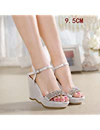 9c39eedeb13 Sandals Amazing 9.5cm Heel Summer Shoes Wedges Platform Thick Bottom  Rhinestone High Heels (Color
