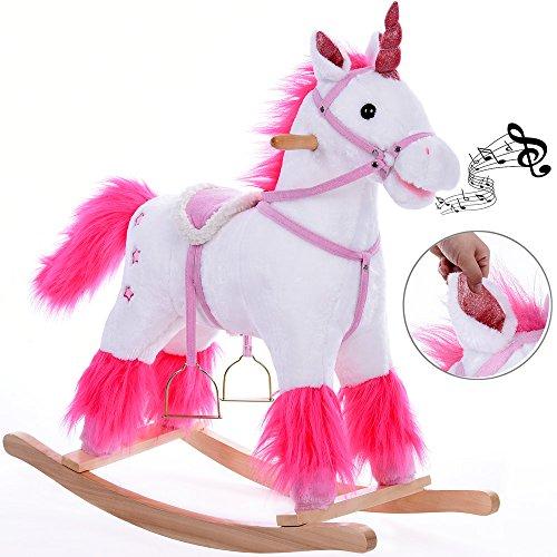 Unicorno a dondolo | con staffe e briglie | suono del cavallo | Pelo morbido e setoso