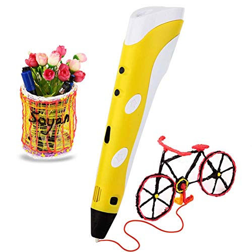 n Kunst-Kit für Kinder, Teens, Erwachsene, Mini Doodling Printing Tool kompatibel mit ABS PLA-Nachfüllungen, Adjustable No Mess Easy to Us,Yellow ()