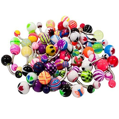 adecco-llc-50pc-colorful-belly-navel-ring-stainless-steel-bar-acrylic-barbell-ball-by-adecco-llc