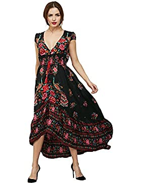 vestido de manga corta de gasa estampada verano de la manera del pavo real de Bohemia estilo