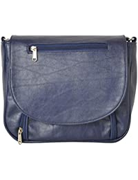 R.K. Leather Point Women's Blue Synthetic Leather Sling Bag