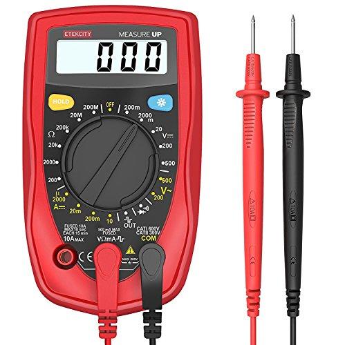 Ziffer Batterie (Etekcity MSR-R500 Digital Multimeter Voltmeter Spannungsmesser Spannungsprüfer Strommessgerät Amperemeter Gleichstrom Gleich-und Wechselspannung Widerstand Durchgang messen mit Batterie und 2 Messleitungen, Rot-Schwarz)