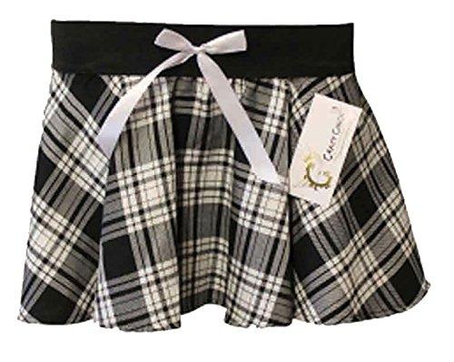 MA ONLINE Damen Rock, Tartan Blau * Einheitsgröße Gr. 34/36 DE(Small/Medium), Grey White Black/White Bow (Tartan Tie Bow)