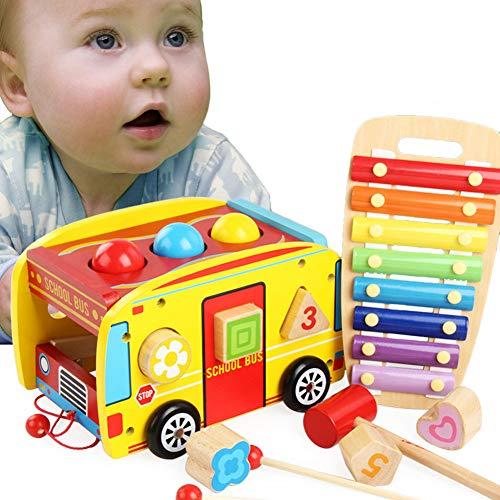 Rclhh Coche de Xilófono Tire a lo Largo del Camión Juguete Knock Piano Music Hammer Toy,4 en 1 Clasificador de Formas Geométricas de Madera Piano Music para niños