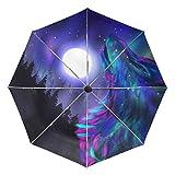COOSUN Arco Iris automático Lobo 3 Plegable del Paraguas del Parasol Color # 002