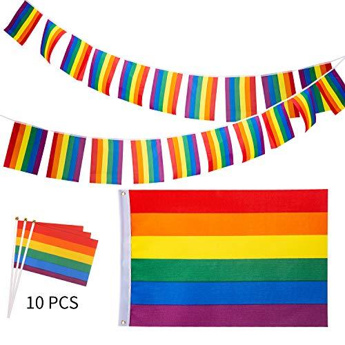 Pride Regenbogen Flagge | 5m LGBT Regenbogen Flagge Banner | 10 Stück Kleine Hand Flagge für Gay Pride Day und Gay Party ()