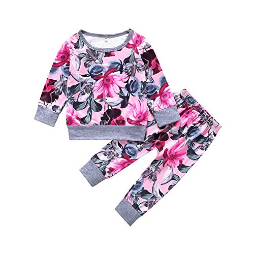 BOBORA Baby Girl Clothes, Toddler Girl 2PCs Long Sleeve Outfits Set Flowers T-Shirt with Trousers Pants Suit 0-2Years
