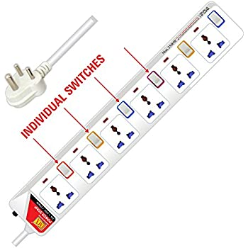 MX Surge Protector Spike Guard with 6 Universal Sockets Individual Switch Circuit Breaker & 5 Foot / 1.5 Meters Power Cable 5 Amperes