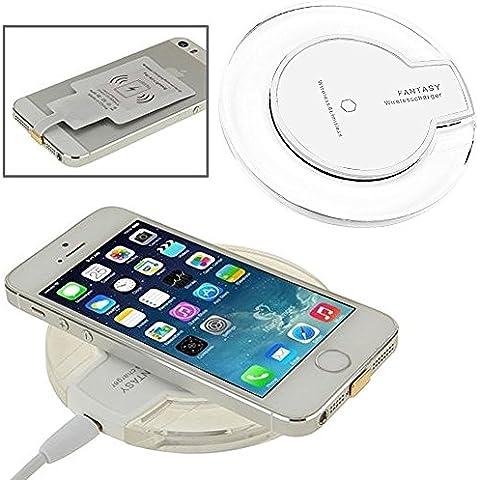 ONX3 (Blanco Wireless Pad) Apple iPhone 6 / iPhone 6s Cargador Universal Wireless Inalámbrico Rápido con QI Tecnología Pad de Carga Wireless con Tira de Goma Antideslizante